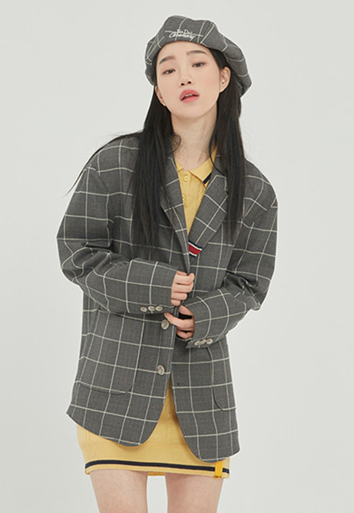Romantic Crown로맨틱크라운 FRIDAY THREE BUTTON CHECK JACKET_GREY