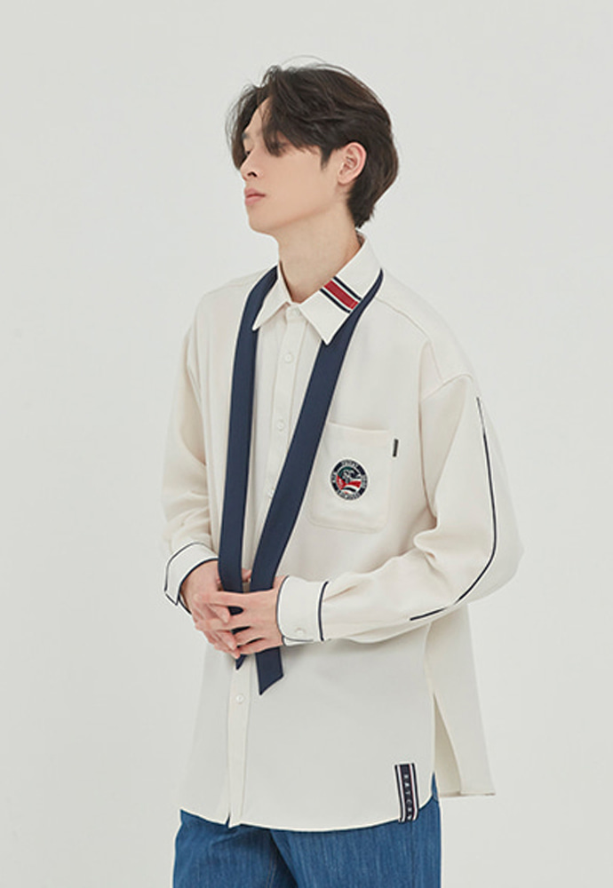 Romantic Crown로맨틱크라운 PIPING TIE SHIRT_OATMEAL