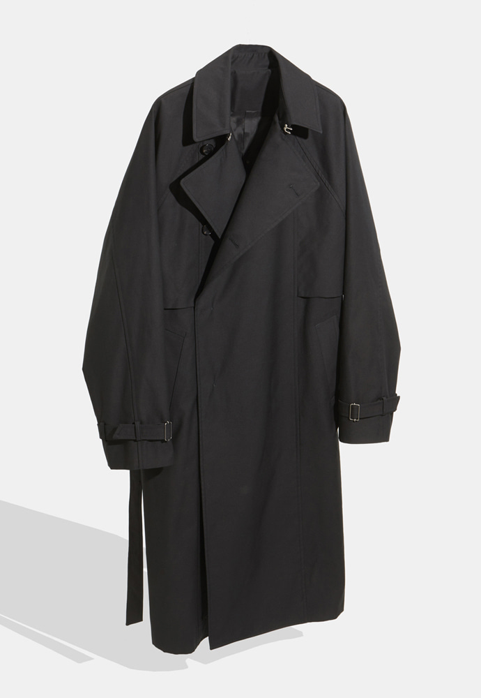 YOUTH유스랩 Belted Trench Coat Black