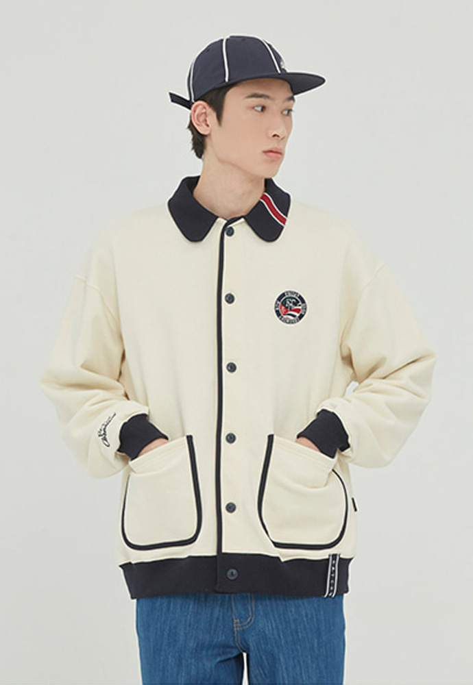 Romantic Crown로맨틱크라운 ROUND COLLAR COTTON CARDIGAN_OATMEAL