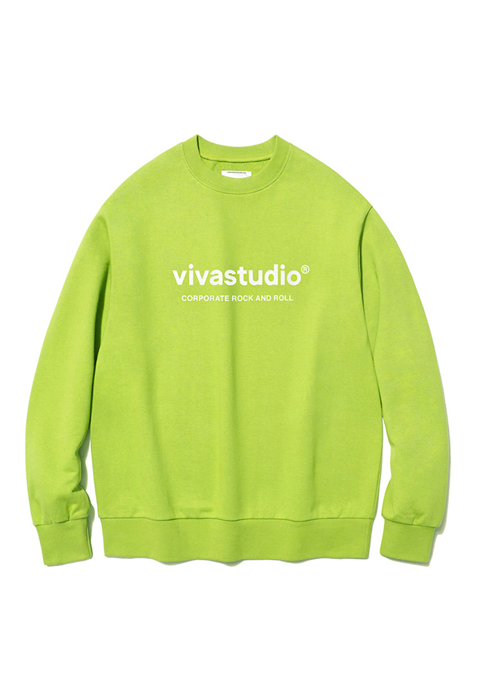 VIVASTUDIO비바스튜디오 ORIGINAL LOGO CREWNECK JS [LIME YELLOW]