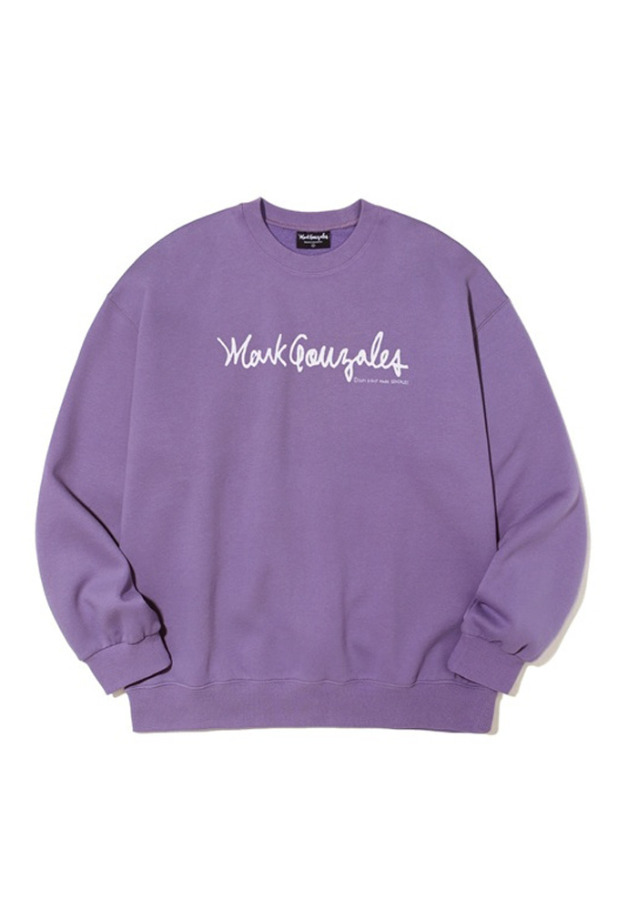 Markgonzales마크곤잘레스 M/G SIGN LOGO CREWNECK PURPLE 20SS