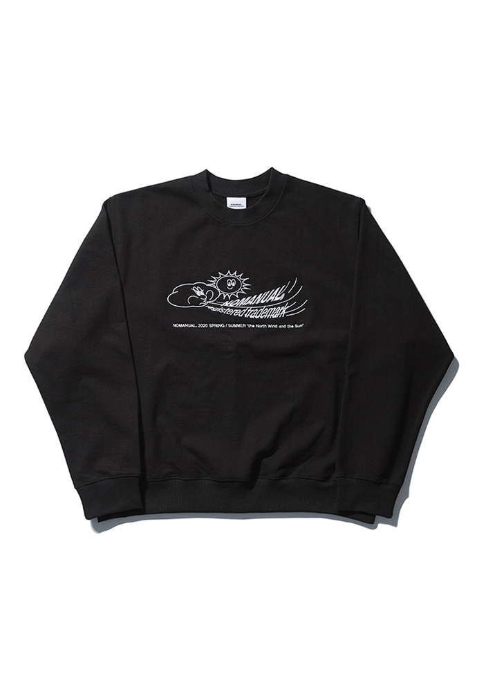 NOMANUAL노메뉴얼 W.S EMBROIDERED SWEATSHIRT - BLACK