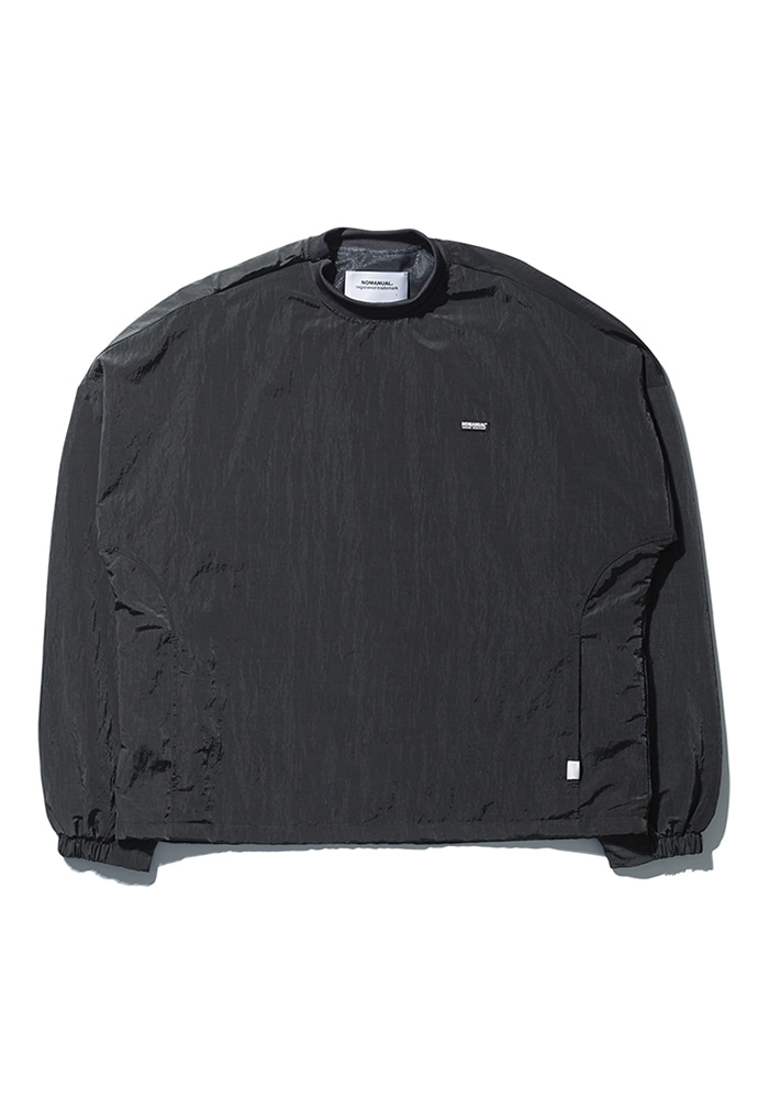 NOMANUAL노메뉴얼 LOGO PATCHED WARM-UP TOP - DARK GRAY