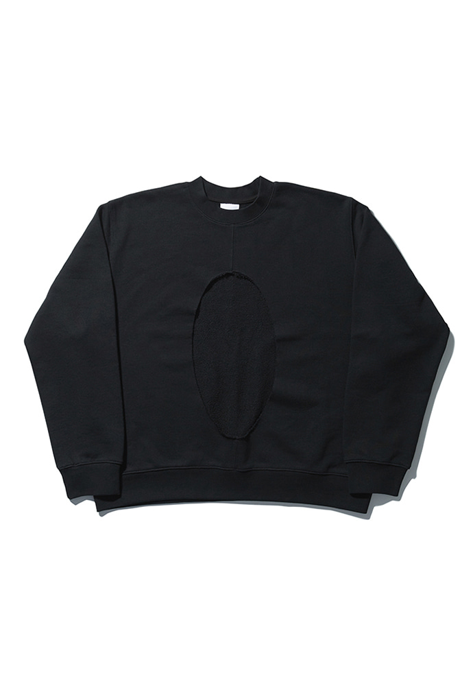 NOMANUAL노메뉴얼 PERFORATED SWEATSHIRT - BLACK
