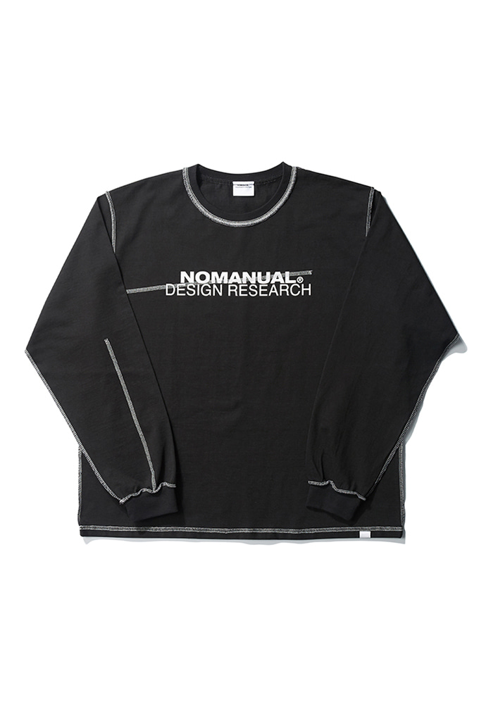 NOMANUAL노메뉴얼 R.D LONG SLEEVE TEE - BLACK