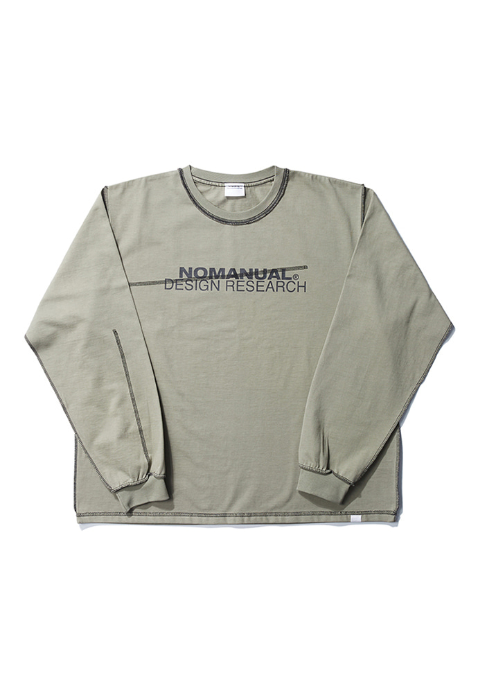 NOMANUAL노메뉴얼 R.D LONG SLEEVE TEE - LIGHT KHAKI