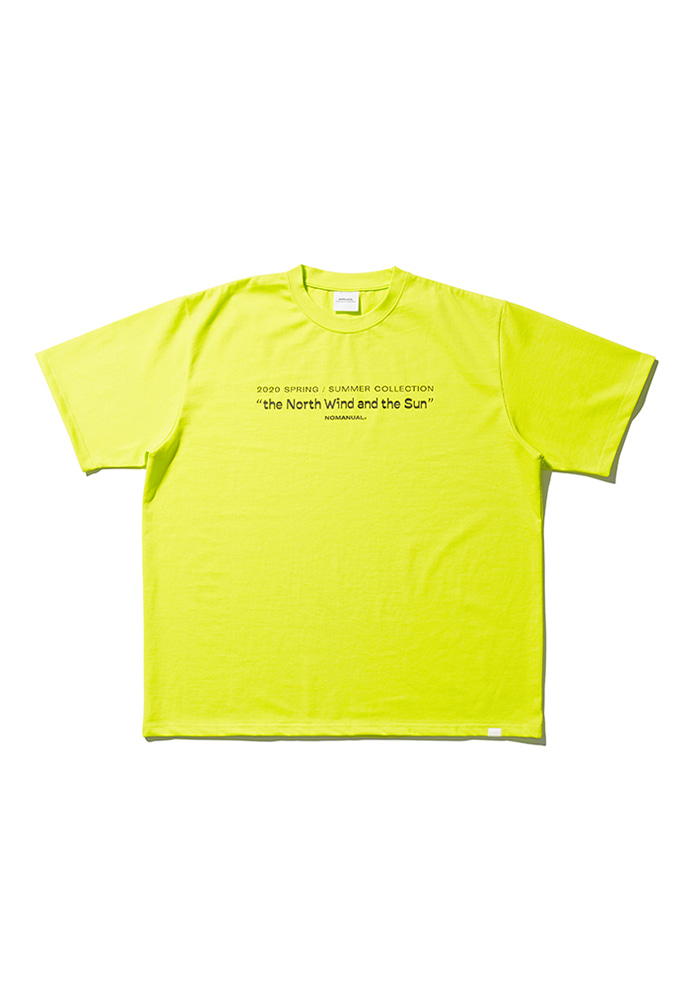 NOMANUAL노메뉴얼 TITLE T-SHIRT - NEON GREEN