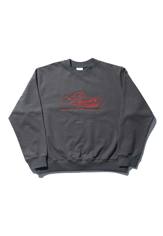NOMANUAL노메뉴얼 W.S EMBROIDERED SWEATSHIRT - DARK GRAY