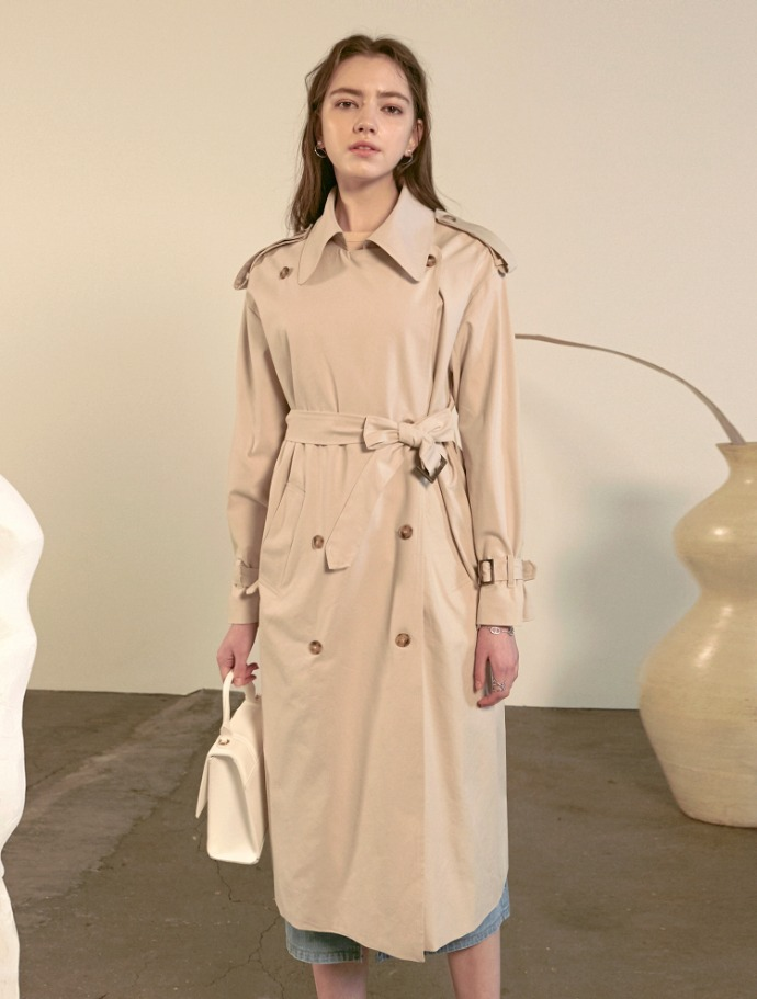 Yan13얀써틴 (3/6부터 순차발송)CREAMY DOUBLE TRENCH COAT_LIGHT BEIGE