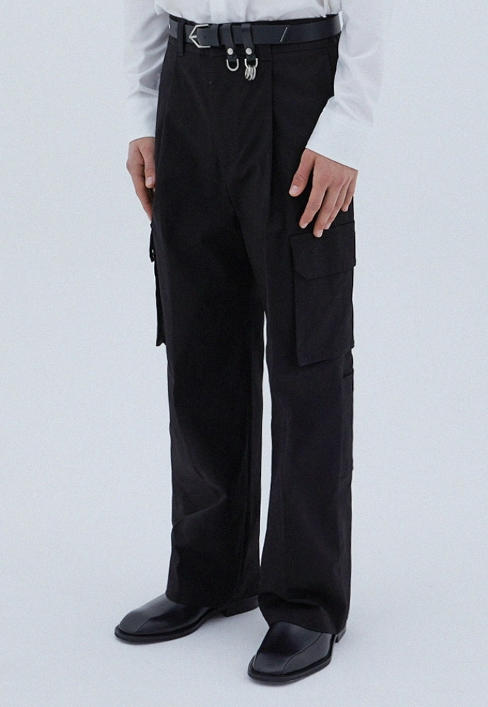 ADDOFF애드오프 Pocket Cargo Wide Pants - Black