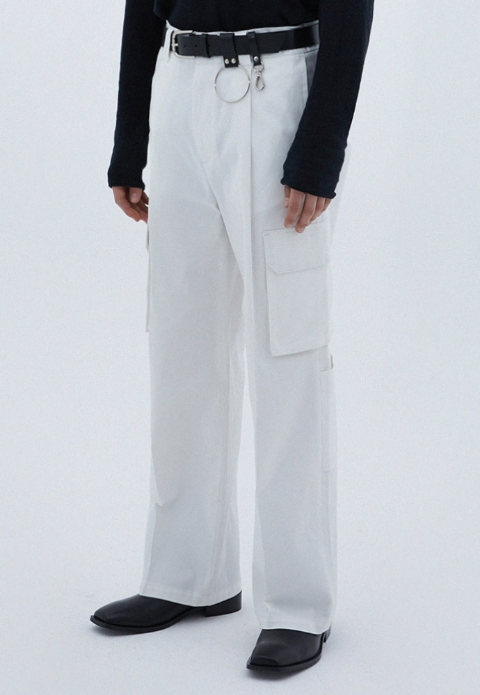 ADDOFF애드오프 Pocket Cargo Wide Pants - Ivory