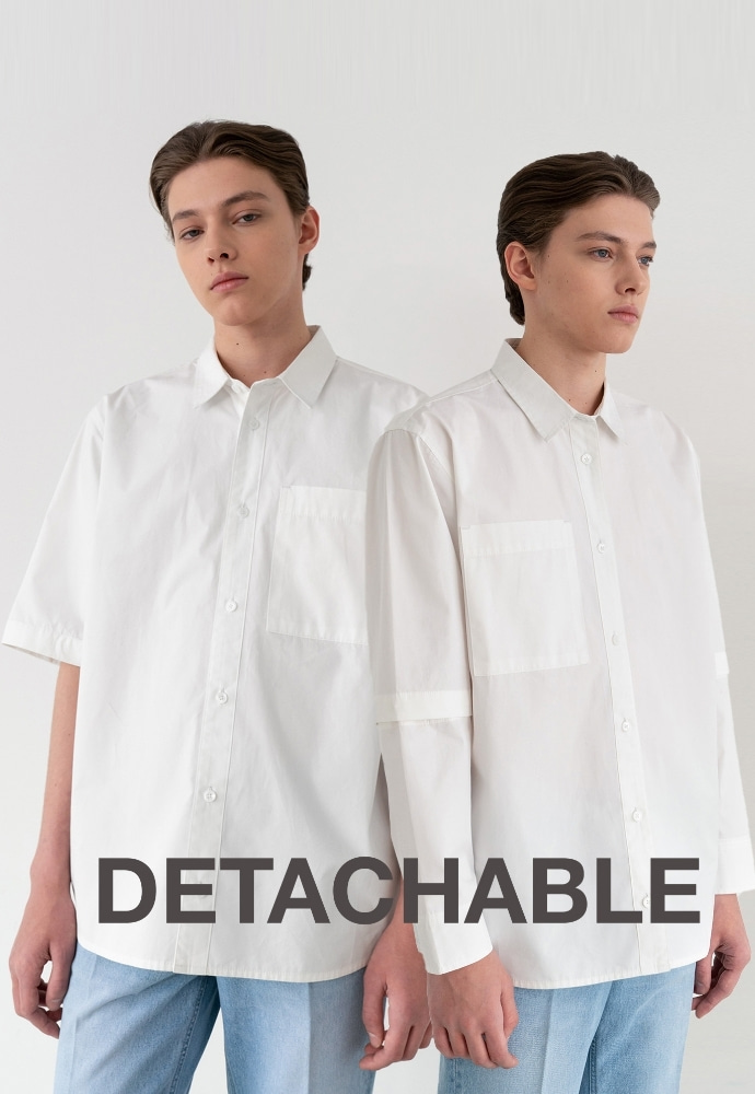 Garment lable가먼트레이블 Detachable Sleeve Shirts - White / Over