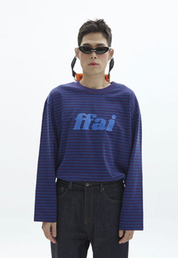 FFAI파이 BIG LOGO STRIPE T-SHIRT_BLUE