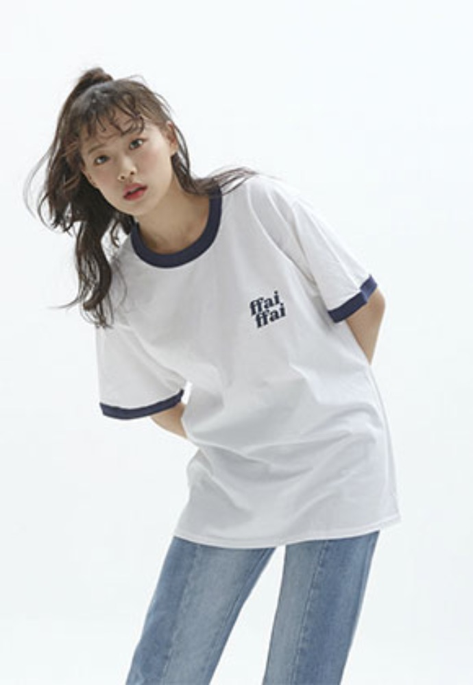 FFAI파이 ffai DOUBLE LOGO T-SHIRT_WHITE/NAVY