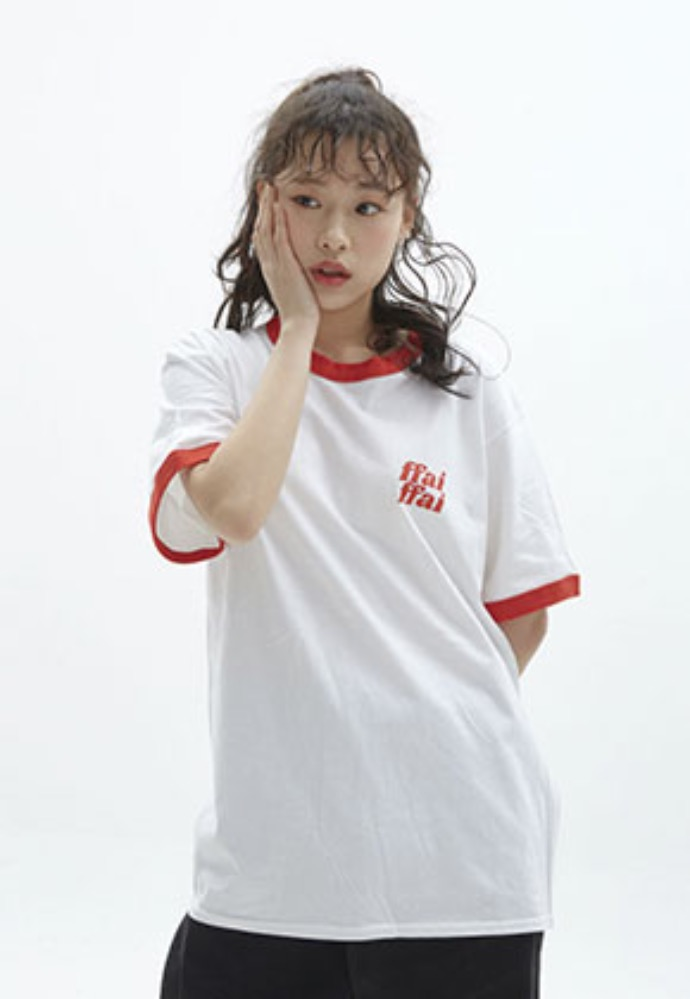 FFAI파이 ffai DOUBLE LOGO T-SHIRT_WHITE/RED