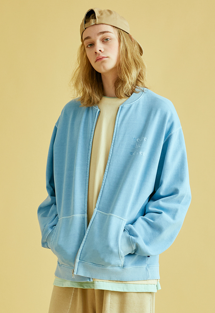 BRICK브릭 GARMENT DYEING ZIPUP SWEAT (SKY BLUE)