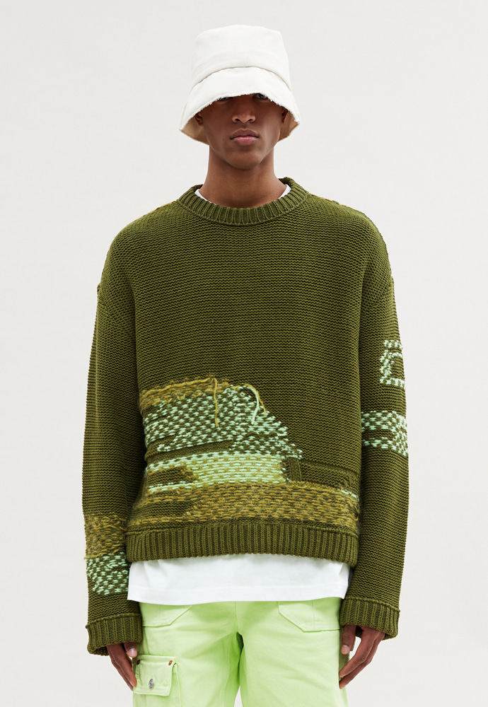 Anderssonbell앤더슨벨 (UNISEX) FRANCISCO INSIDE OUT ROUNDNECK PULLOVER KHAKI