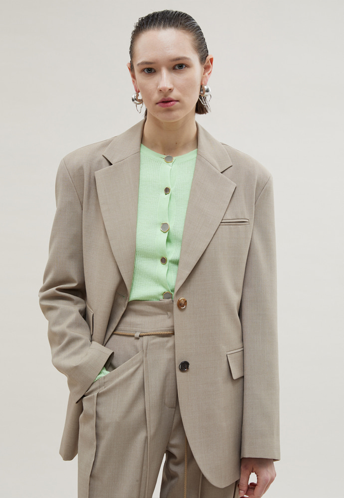 Anderssonbell앤더슨벨 KATINA CINCHED WAIST WOOL JACKET awa280w(Beige)(20SS)
