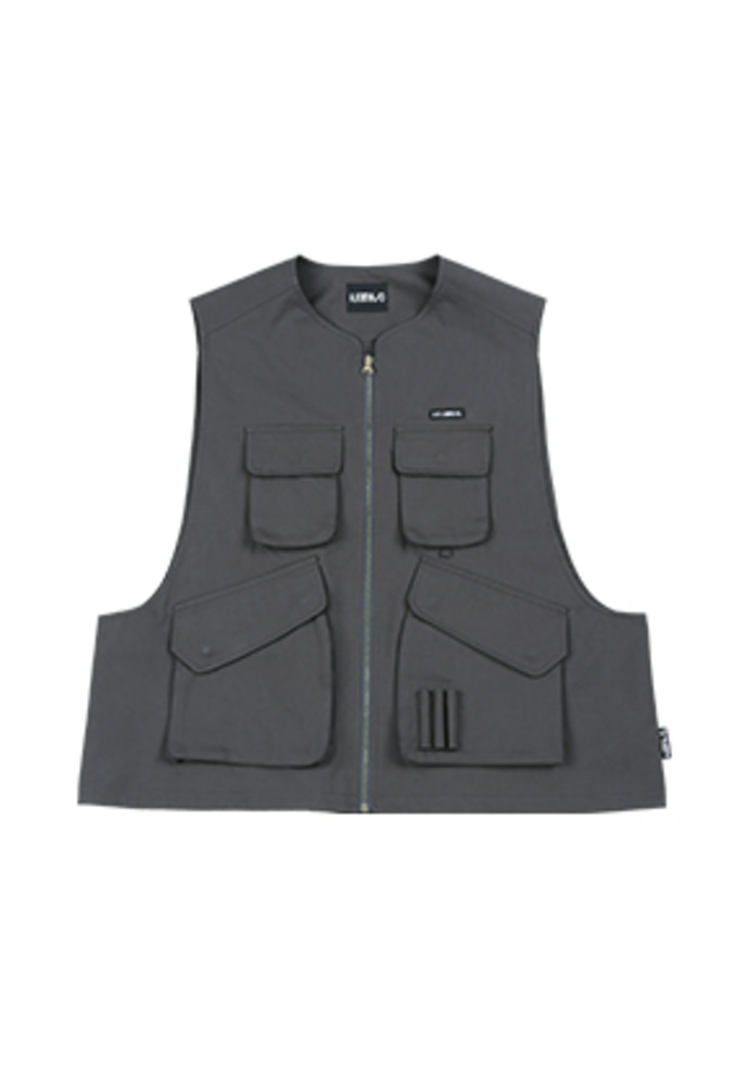 AJO BY AJO아조바이아조 Fisherman Vest [Charcoal]