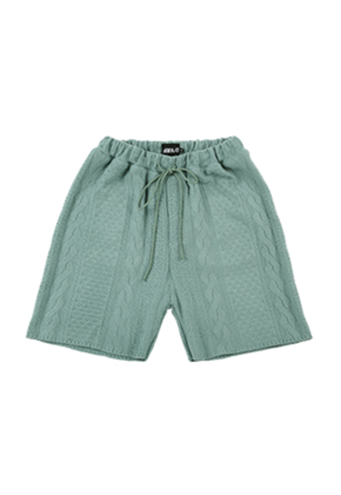 AJO BY AJO아조바이아조 Cable Stitch Knit Shorts [Blue Green]
