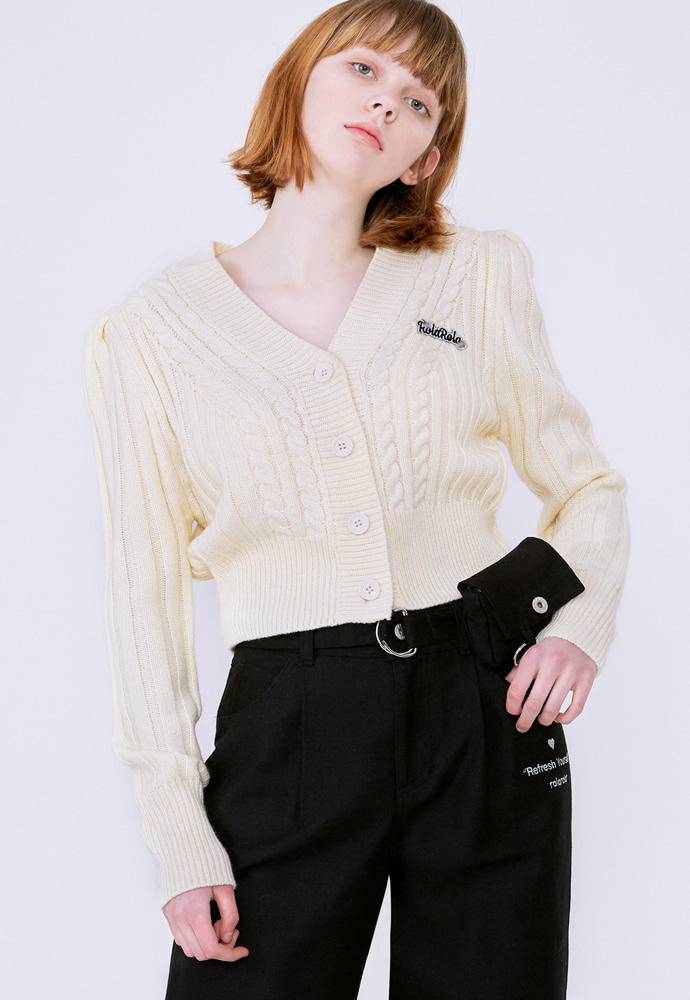 ROLAROLA로라로라 (CD-20132) PUFF-SLEEVE CROP CARDIGAN IVORY