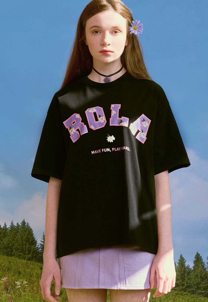 ROLAROLA로라로라 (TS-20301) FLOWER ROLA T-SHIRT BLACK
