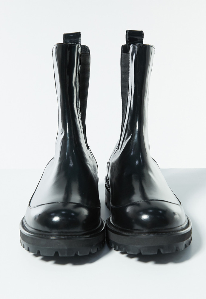 Haleine알렌느 BLACK leather chunky boots(LH001)