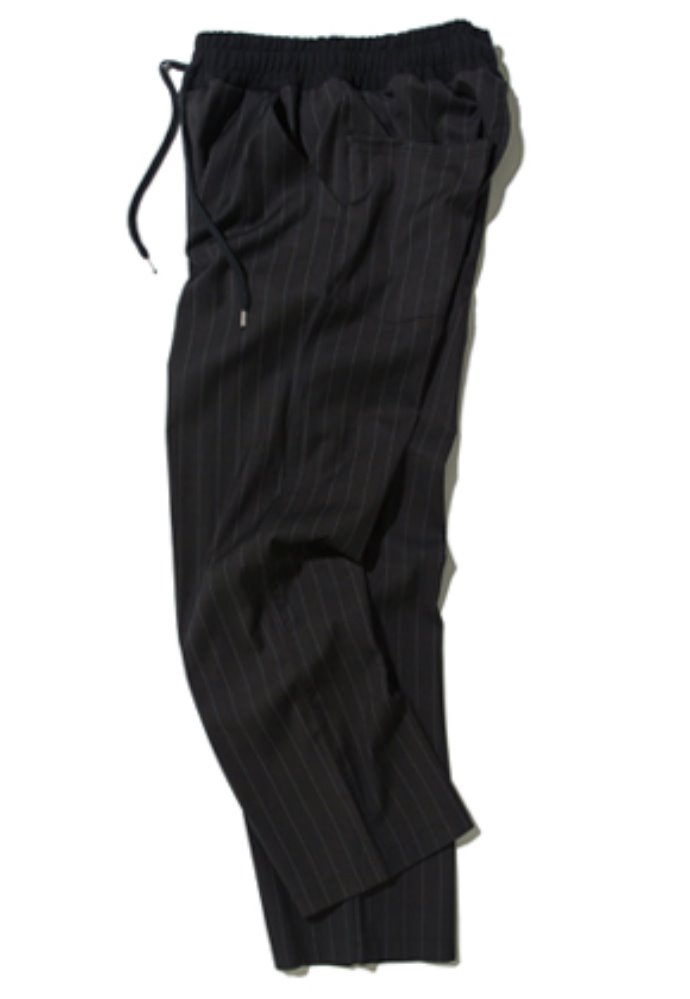 Kruchi크루치 Stripe Easy Banding Slacks - (black)