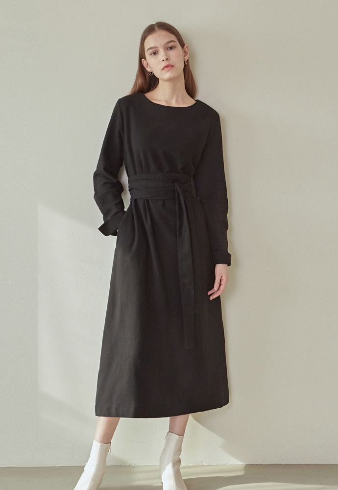 L'OEIL로에일 PURE BELTED LONG DRESS_BLACK
