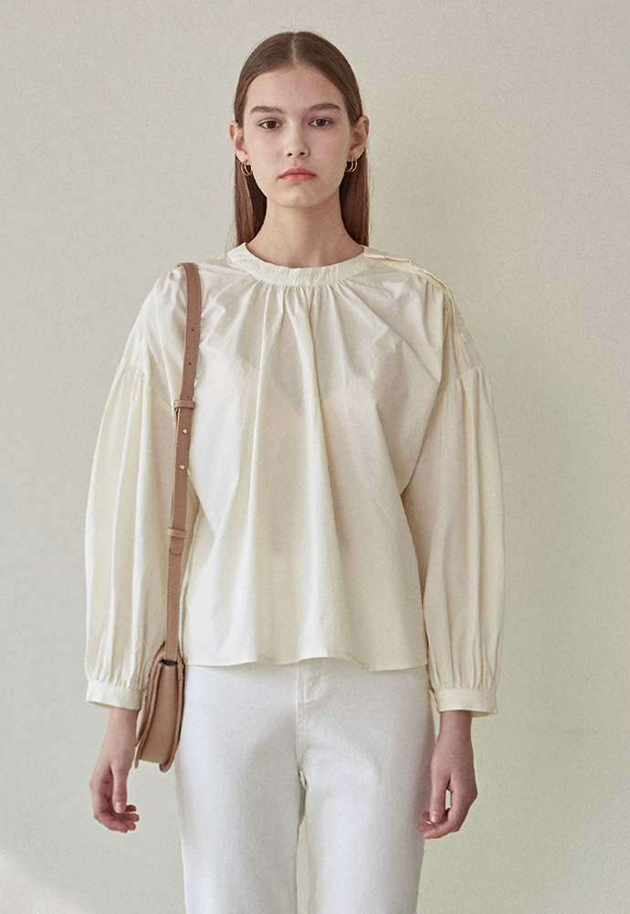L'OEIL로에일 SHIRRING BUTTON BLOUSE_YELLOW