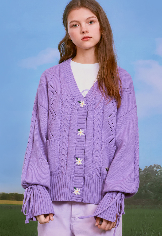 ROLAROLA로라로라 (CD-20131) FLOWER SLEEVE RIBBON CARDIGAN LAVENDER