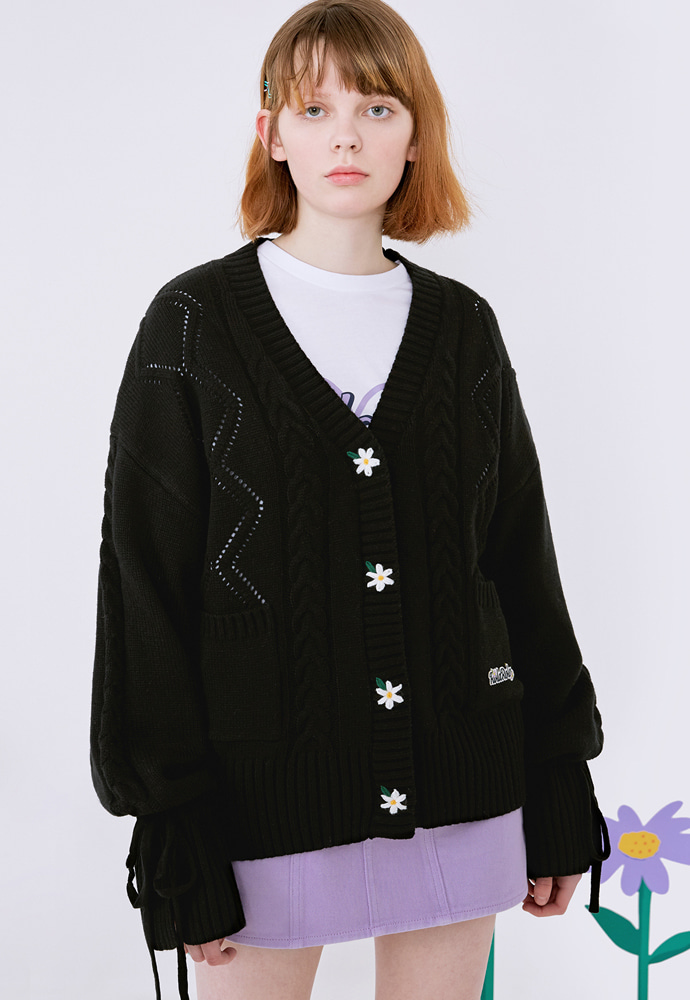 ROLAROLA로라로라 (CD-20131) FLOWER SLEEVE RIBBON CARDIGAN BLACK