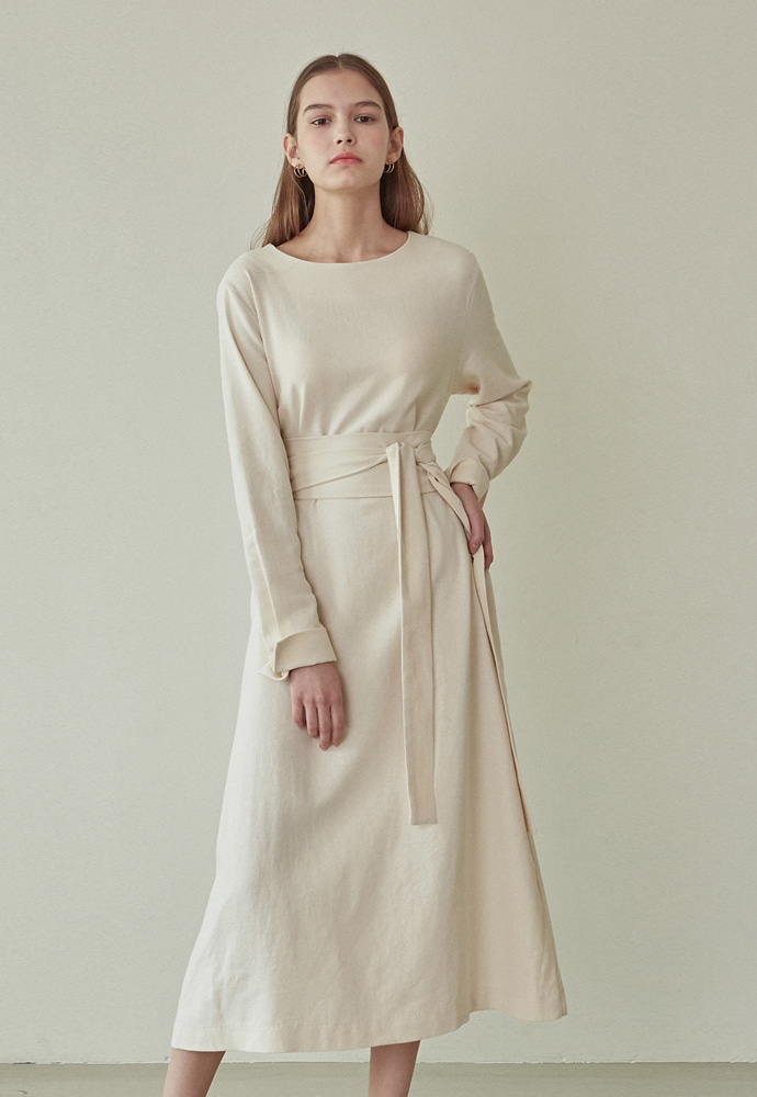 L'OEIL로에일 PURE BELTED LONG DRESS_CREAM