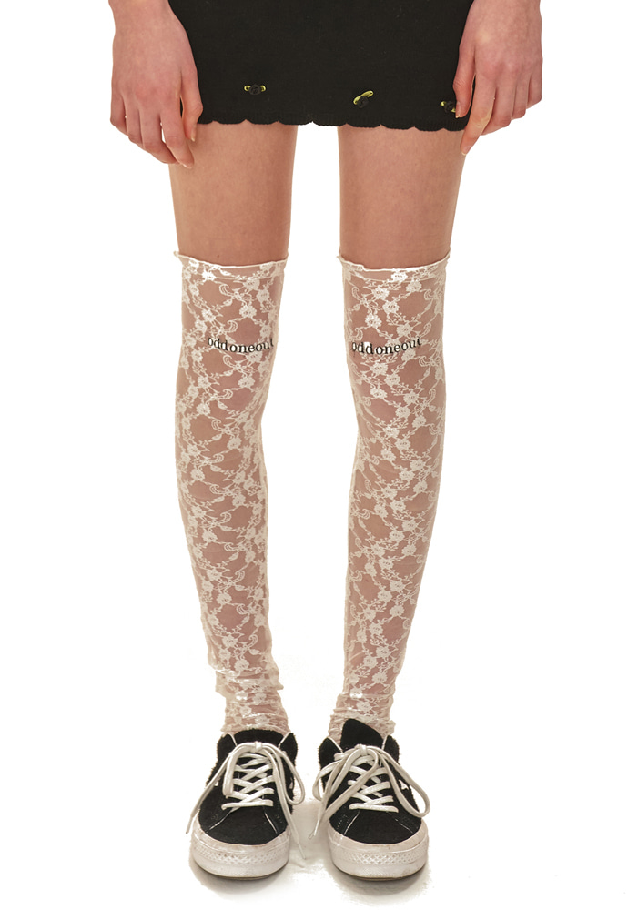 ODD ONE OUT오드원아웃 oddoneout lace knee socks_WH