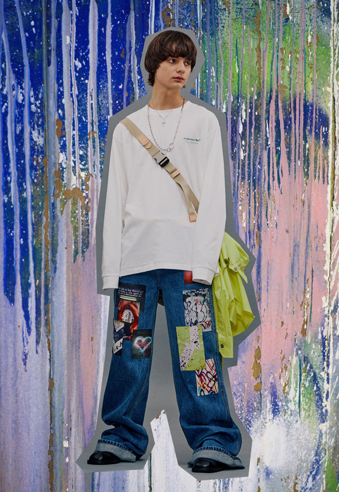 Anderssonbell앤더슨벨 FILM ARCHIVE WIDE-LEG ARTWORK JEANS apa380m(Blue)