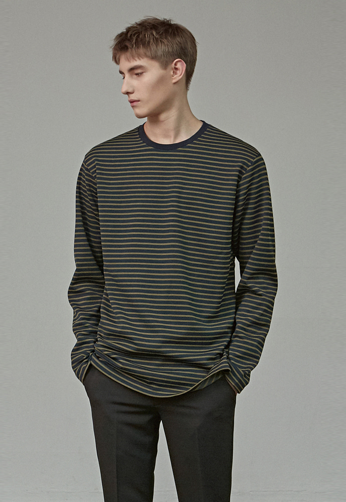 A.GLOWW에이글로우 STANDARD STRIPE LONG SLEEVE_OLIVE