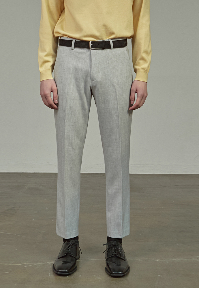 A.GLOWW에이글로우 SLIM FIT CROPPED SLACKS_GRAY