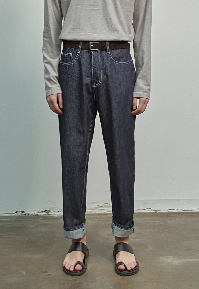 A.GLOWW에이글로우 WORKSTITCH DENIM PANTS_BLUE