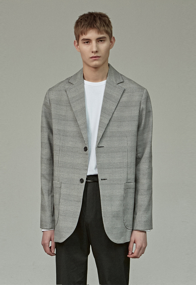 A.GLOWW에이글로우 CHECK SINGLE BLAZER_GRAY