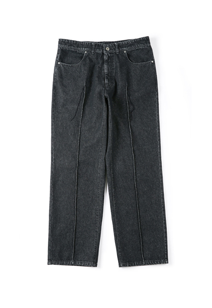 Shirter셔터 STITCHED CREASE DENIM PANTS BLACK