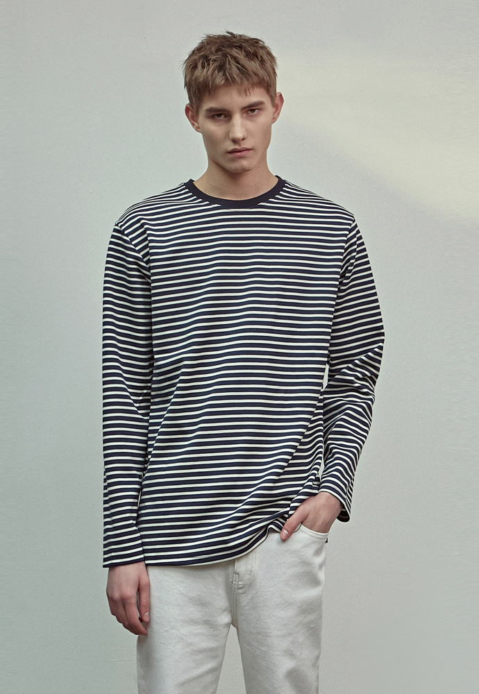 A.GLOWW에이글로우 STANDARD STRIPE LONG SLEEVE_NAVY
