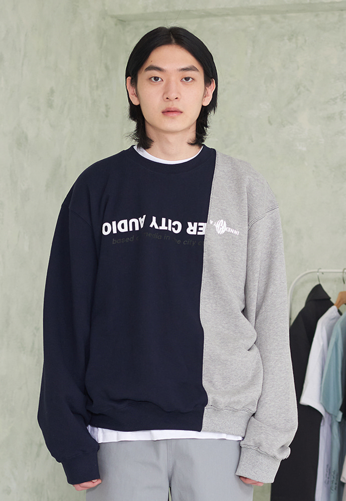 INNER CITY AUDIO이너시티오디오 ICA SPLITS SWEATSHIRTS NAVY/GREY