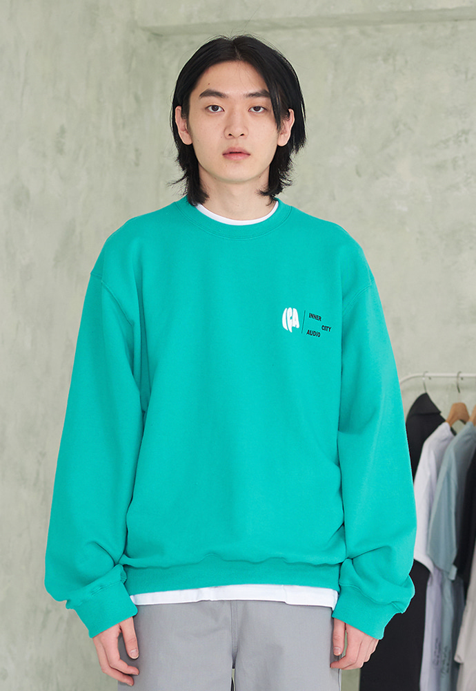 INNER CITY AUDIO이너시티오디오 ICA SLOGAN SWEATSHIRTS EMERALD