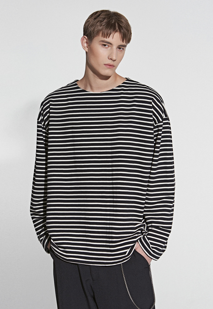 L'OEIL로에일 STRIPE POINT T-SHIRT_BLACK