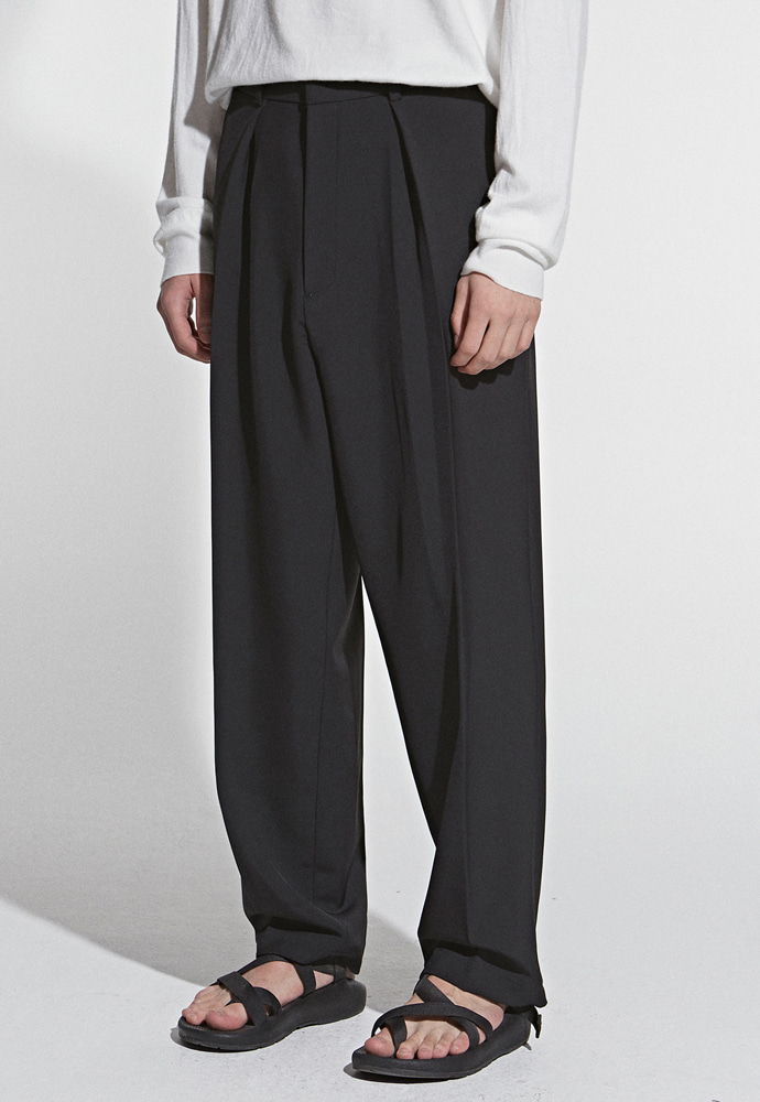 L'OEIL로에일 STRAIGHT BANDING LONG SLACKS_BLACK