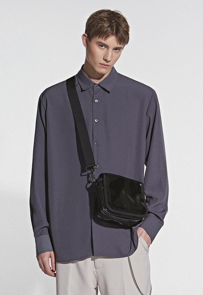 L'OEIL로에일 REAL SILKY BASIC SHIRT_CHARCOAL