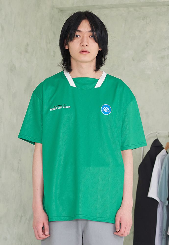 INNER CITY AUDIO이너시티오디오 FOOTBALL JERSEY HALF FOREST GREEN