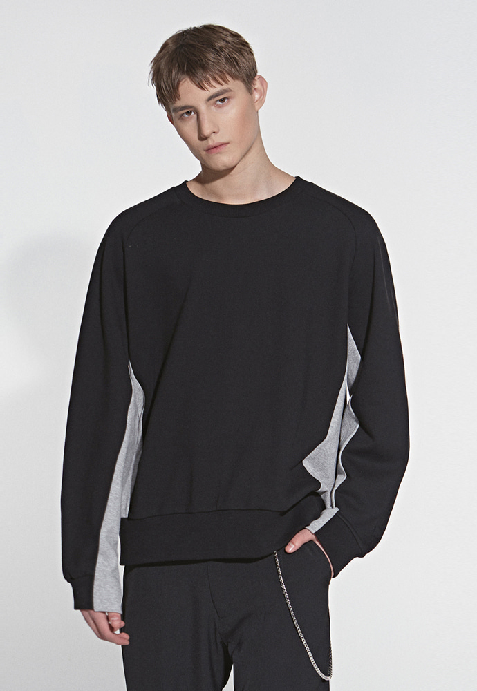 L'OEIL로에일 COLOR MIX SWEATSHIRT_BLACK