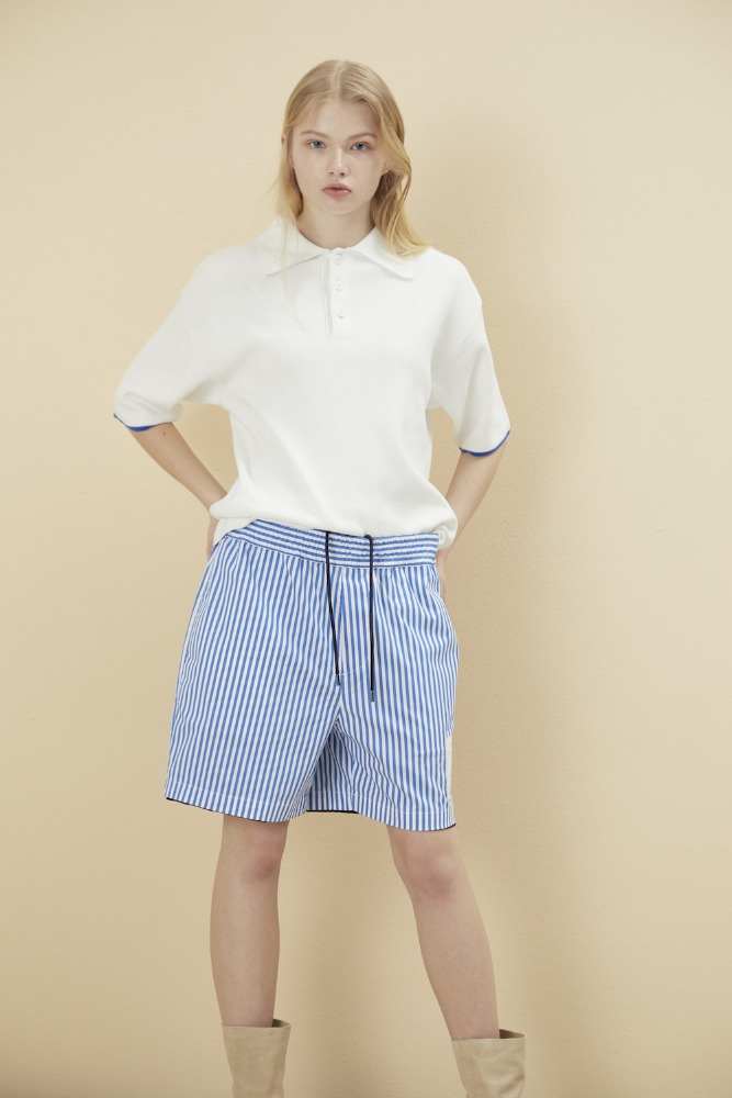 NOHANT노앙 REVERSIBLE STRIPE SHORTS NAVY